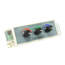 Atenuador dimmer de 3 canales ideal para tiras lámparas o dispositivos led RGB que operen a 12 volt